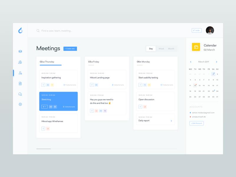 Meetings - ooto Dashboard free freebie team calendar grid files webapp ui web ux stats simple schedule meeting interface meetings dashboard clean cards app