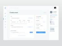 Create event - ooto Dashboard form management web ux event schedule meetings meeting interface dashboard clean cards