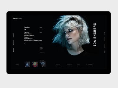 DRUMCODE Artist Profile drumcode techno website ui type record music minimal label grid clean album
