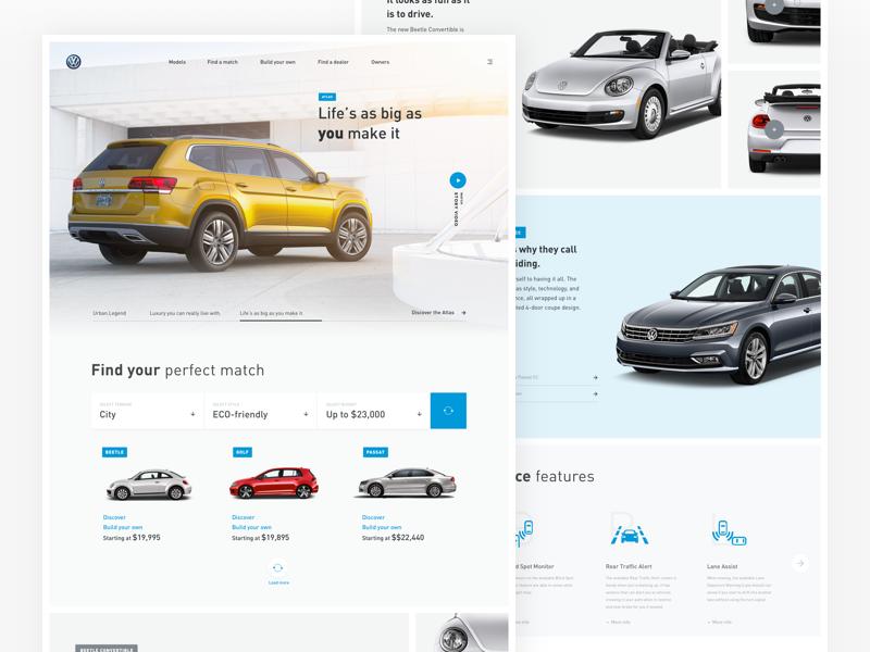 Volkswagen Landing page website redesign modular volkswagen car light clean ux ui webdesign web landing-page