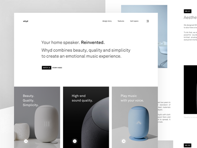 whyd - Your home speaker. Reinvented. editorial grid landing page whyd website webpage web ui simple minimalistic landing concept