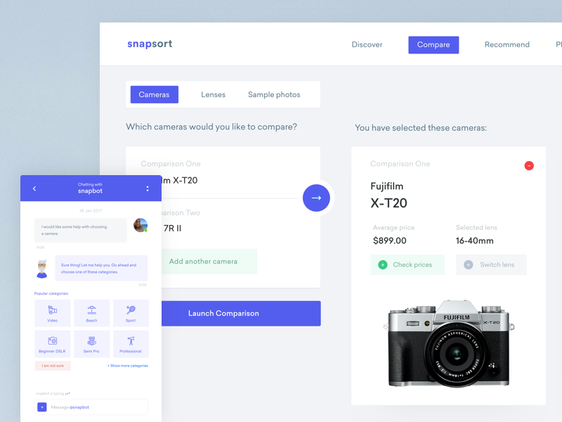 snapsort - Discover a digital camera comparison compare chat ux dashboard photography photo search camera ui webdesign