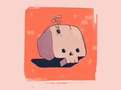 Skully Boi oli ingram deep fried dreams character design cute rough paint color design retro cartoon skulltober halloween spooktober illustration skull