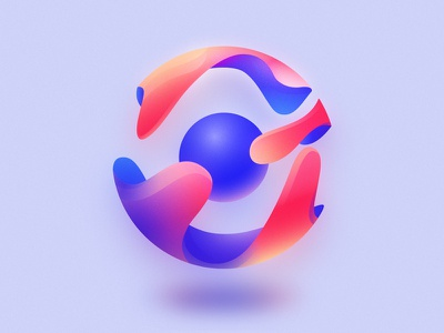 Gloopy ball logo exploration vector logo sphere organic flow gloop color ball light bright glow colour