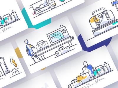 baggage processing illustrations