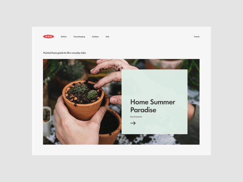 OXO concept shop minimal kitchenware hero ecommerce website
