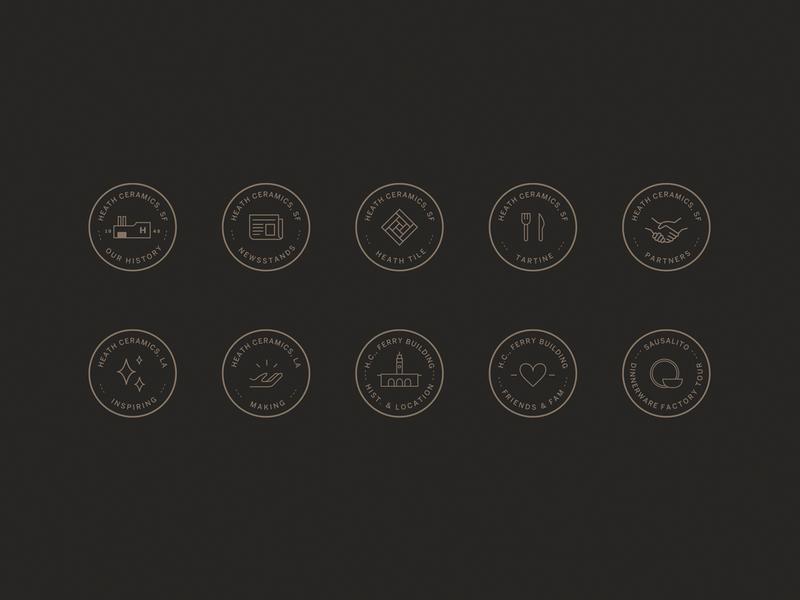 Heath Ceramics Icon Set badge linear icons icon iconography logo illustration ecommerce basic agency