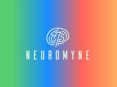 Neuromyne gradient science neurons brain logo pick pick axe miner mining data neurology