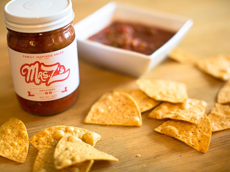Mrs. Z's  logo salsa food chips photography