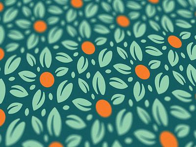 Navel Orange pattern mint green pattern flora botanical foliage leaf orange juice navel orange teal vector branding minimal illustration design