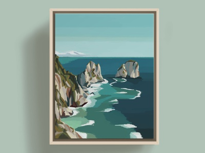 Faraglioni di Mezzo, Capri mediterranean ocean sea island grotto blue color expressionism impressionism capri coastal beach italy illustration art digital painting illustration design