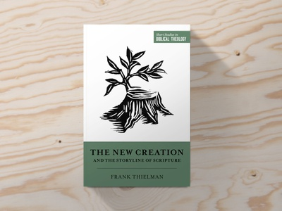 SSBT New Creation story roots leaves leaf creation olive branch linocut greenery tree stump green typography book simple icon church illustration christian design