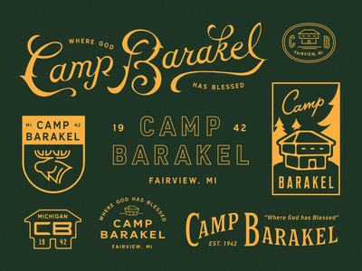Camp Barakel logo branding lockup handlettering typography great lakes lake christian national park vintage type woods cabin blockhouse michigan adventure wilderness mountains moose camp design