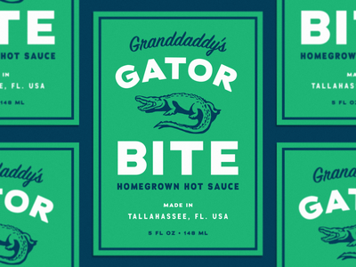 Granddaddy's Gator Bite Hot Sauce Label stickermule label bite florida hot sauce sauce hot swamp green alligator gator vector branding typography logo simple illustration design