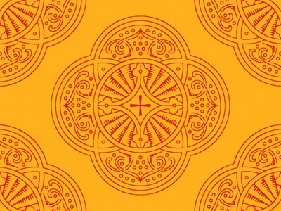 Rotunda Design stamp crossway emblem historical iconography timeless classical rotunda yellow red vector cross gold book icon church illustration christian design