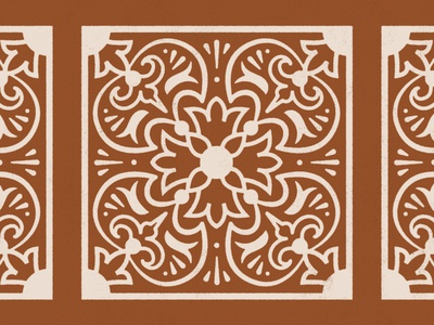 Talavera Pattern 2.0 orange brown clay mediterranean decor floral pattern design spanish mexican talavera terracotta pattern vector simple illustration design