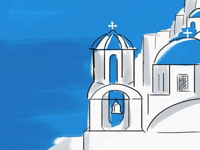 Santorini, Greece mediterranean saline fresh island marine line art blue and white ocean beach greece greek blue minimal illustration church christian design