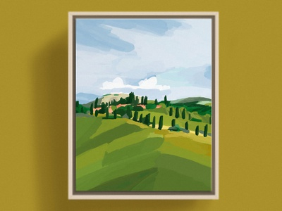 Tuscany, Italy italy countryside impressionism vineyard winery pastoral cheerful bright fresh green ochre mockup painting color block colorful mediterranean italian tuscany tuscan illustration