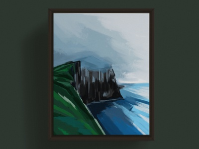 Cliffs of Moher, Ireland rugged fog sea ocean moher cliffs impressionism pasture green painting moody gloomy irish ireland seaside countryside color block color design illustration