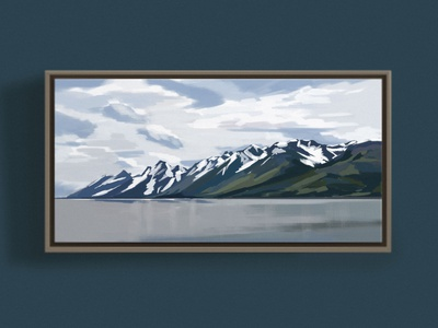 Grand Teton National Park, WY united states national parks national park grand gray blue clouds adventure forest scenic lake impressionism range mountains color block painting wyoming tetons illustration