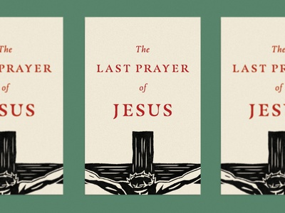 The Last Prayer of Jesus crown prints jesus linocut good friday easter prayer christ cover illustration vector cross typography book simple church icon design christian