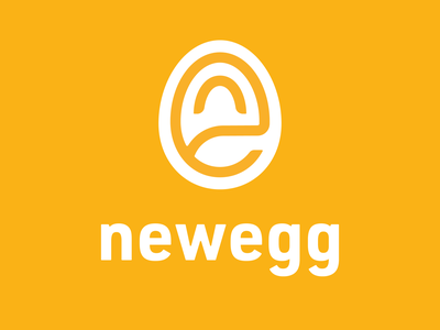 Newegg Rebrand Exercise new rebrand tech bright yellow egg newegg ux minimal typography vector branding icon logo design