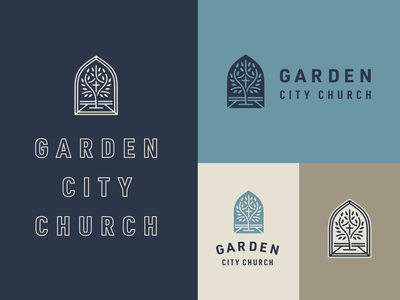 Garden City Church Branding city garden taupe reverse lineart outline window revelation tree type blue vector typography cross logo icon church illustration christian design