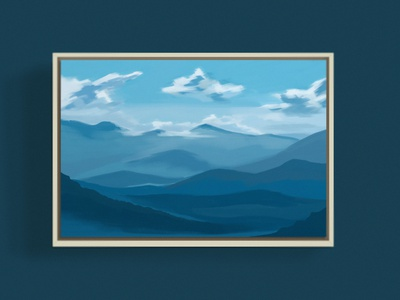 Smokey Mountatins impressionism painting north carolina state park haze shades forest blue and white clouds national park mountains smokey blue minimal illustration