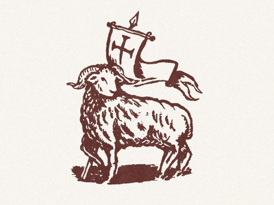 Agnus Dei horn christ lamb mark banner cross triumph sheep ram woodcut linocut design icon church illustration christian agnus dei