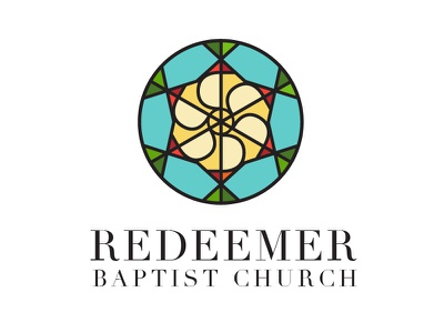 Redeemer serif design christian chi rho stained glass logo church redeemer