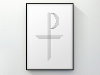 Tau Rho, embellished elegant minimal white black church poster design art greek symbol simple christian