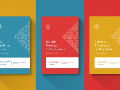 Short Studies in Systematic Theology vintage icon contrast church gold blue red typography cover type logo cross illustration book minimal design christian