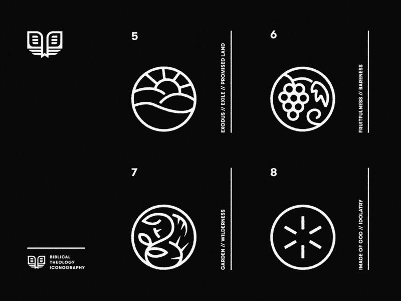 Biblical Theology Icons (2) grid book black light vines horizon grape branding vintage typography icon church minimal vector type logo simple illustration christian design