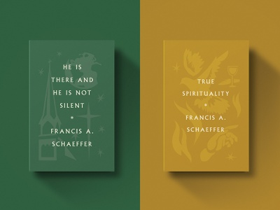 Francis Schaeffer Titles retro vintage dove tones world fire series type cross gold icon book church illustration minimal design christian
