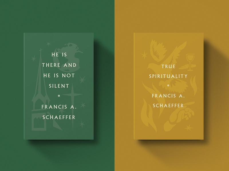 Francis Schaeffer Titles retro vintage dove tones world fire series type cross gold icon book church illustration minimal design christian