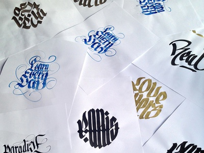 A day of calligraphy colors paint typography hand-lettering hand-type letters type calligraphy lettering