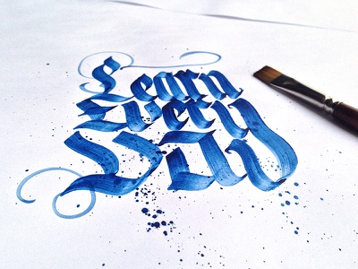 Learn every day - Calligraphy typography learn-every-day blue paint type handwriting hand-type letters callligraphy