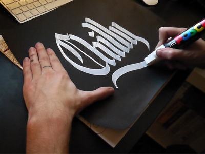 Chilly - Calligraphy marker posca blackandwhite paint typography hand-lettering hand-type letters type calligraphy lettering