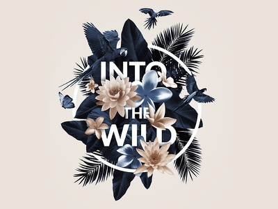 Into the wild pastel wild nature birds circle floral palms intothewild type letters typography flowers