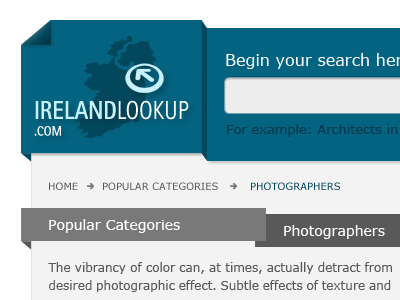 Lookup Ireland website header