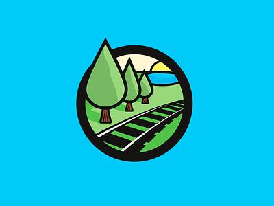 Cypress Junction illustration branding railroad tree thick lines logo