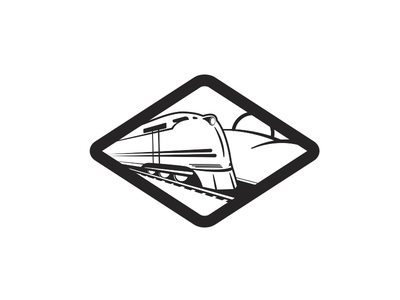 Streamliner illustration branding logo train thick lines