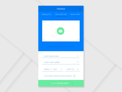 Daily UI #002 form scan card credit checkout 002 dailyui