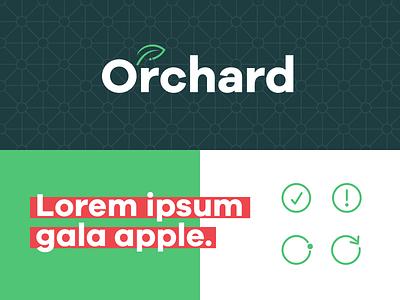 Orchard Logo Design red green pattern icons type logo wip