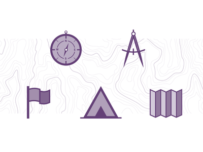 Adventure Icons texture compass flag tent basecamp topography map purple icons adventure