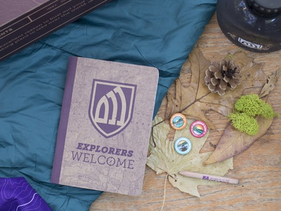University of the Ozarks Scout Book Package outdoors camping canteen pencil buttons pure packaging box packlane book scout