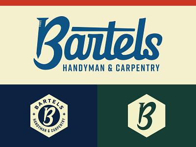 Bartels Handyman & Carpentry Branding monogram retro script badges branding design construction logo carpentry nail screw bolt badge construction handyman brand identity logo branding flat