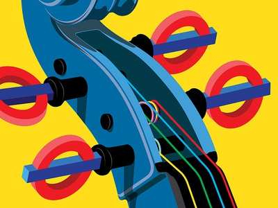 Sounds Of The Underground poster art illustration art illustration buskers sound music violin cello london transport underground poster
