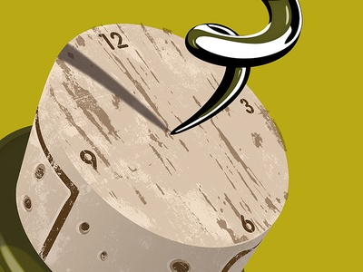 Good Times illustration illustration art alcohol bottle cork clock vintage mature time corkscrew wine