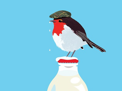 Grandad illustration illustration art bottle drink hat cap snow winter cold milk holiday design holiday card holiday christmas xmas card xmas bird robin